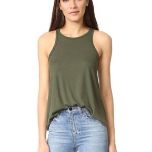 Free People Long Beach Ribbed Tank Top Olive XS